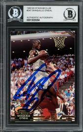 Shaquille Shaq O'Neal Autographed 1992-93 Stadium Club Rookie Card #247 Orlando Magic Beckett BAS #13020284