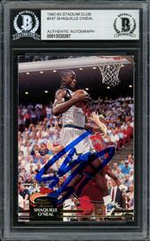 Shaquille Shaq O'Neal Autographed 1992-93 Stadium Club Rookie Card #247 Orlando Magic Beckett BAS #13020287