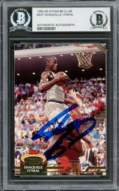 Shaquille Shaq O'Neal Autographed 1992-93 Stadium Club Rookie Card #247 Orlando Magic Beckett BAS #13020281