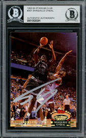 Shaquille Shaq O'Neal Autographed 1992-93 Stadium Club Members Only Rookie Card #201 Orlando Magic Beckett BAS #13020291