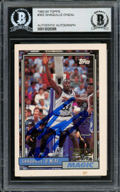 Shaquille Shaq O'Neal Autographed 1992-93 Topps Rookie Card #362 Orlando Magic (Off Condition) Beckett BAS #13020385