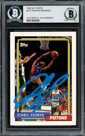 Dennis Rodman Autographed 1992-93 Topps Card #137 Detroit Pistons Blue Paint Beckett BAS Stock #195074
