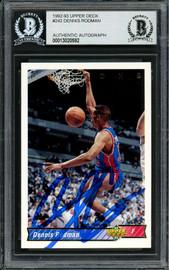 Dennis Rodman Autographed 1992-93 Upper Deck Card #242 Detroit Pistons Beckett BAS #13020592