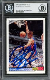 Dennis Rodman Autographed 1992-93 Upper Deck Card #242 Detroit Pistons Beckett BAS #13020596