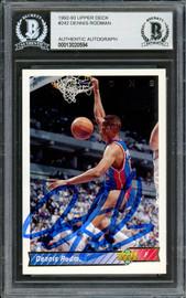 Dennis Rodman Autographed 1992-93 Upper Deck Card #242 Detroit Pistons Beckett BAS #13020594