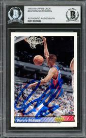 Dennis Rodman Autographed 1992-93 Upper Deck Card #242 Detroit Pistons Beckett BAS #13020598