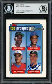 Chipper Jones Autographed 1992 Topps Rookie Card #551 Atlanta Braves Beckett BAS #13020602