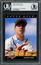 Chipper Jones Autographed 1993 Upper Deck Rookie Card #24 Atlanta Braves Beckett BAS #13020620