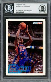 Dennis Rodman Autographed 1993-94 Fleer Card #64 Detroit Pistons Beckett BAS #13060640