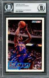 Dennis Rodman Autographed 1993-94 Fleer Card #64 Detroit Pistons Beckett BAS #13020641