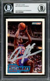 Dennis Rodman Autographed 1993-94 Fleer Card #64 Detroit Pistons Beckett BAS Stock #195126