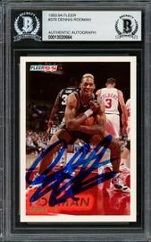 Dennis Rodman Autographed 1993-94 Fleer Card #378 San Antonio Spurs Beckett BAS #13020664