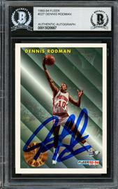 Dennis Rodman Autographed 1993-94 Fleer Card #227 Detroit Pistons Beckett BAS #13020667