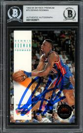 Dennis Rodman Autographed 1993-94 Skybox Card #70 Detroit Pistons Beckett BAS #13020671
