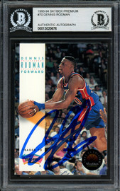 Dennis Rodman Autographed 1993-94 Skybox Card #70 Detroit Pistons Beckett BAS #13020676