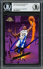 Dennis Rodman Autographed 1995-96 Skybox Card #111 San Antonio Spurs Beckett BAS #13020718