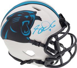 Sam Darnold Autographed Carolina Panthers Lunar Eclipse White Speed Mini Helmet Beckett BAS QR Stock #195169