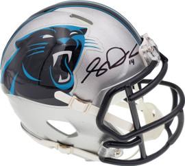 Sam Darnold Autographed Carolina Panthers Silver Speed Mini Helmet Beckett BAS QR Stock #195171