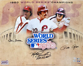 1980 World Series Champion Philadelphia Phillies Autographed 16x20 Photo With 3 Signatures Including Mike Schmidt, Pete Rose & Steve Carlton MLB Holo Stock #195178