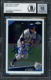 Ichiro Suzuki Autographed 2009 Topps Chrome Card #88 Seattle Mariners Auto Grade Gem Mint 10 Beckett BAS #13022261