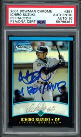 "Ichiro Suzuki Autographed 2001 Bowman Chrome Refractor Rookie Card #351 Seattle Mariners Auto Grade Gem Mint 10 ""01 ROY/MVP"" English PSA/DNA #59798367"