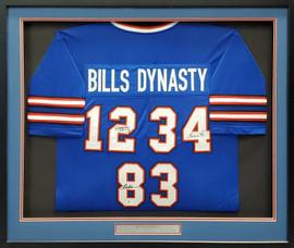 Buffalo Bills Jim Kelly, Thurman Thomas & Andree Reed Autographed Framed Blue Jersey Dynasty Beckett BAS Stock #195234