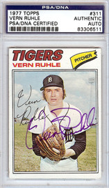 Vern Ruhle Autographed 1977 Topps Card #311 Detroit Tigers PSA/DNA #83306511