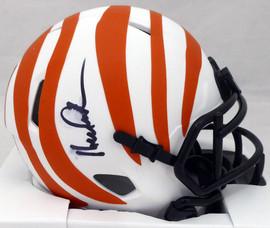 Ken Anderson Autographed Cincinnati Bengals White Lunar Eclipse Speed Mini Helmet (Smudged) Beckett BAS QR #WL89462