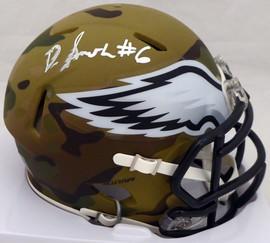 DeVonta Smith Autographed Philadelphia Eagles Camo Speed Mini Helmet (Smudged) Beckett BAS QR #WL17240