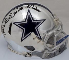 Ezekiel Elliott Autographed Dallas Cowboys Chrome Speed Mini Helmet (Smudged) Beckett BAS #L64495