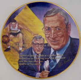 John Wooden Autographed Gartlan Plate UCLA Bruins Beckett BAS #BA84217