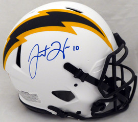 Justin Herbert Autographed Los Angeles Chargers Lunar Eclipse White Full Size Authentic Speed Helmet (Mark) Beckett BAS QR #WK11645