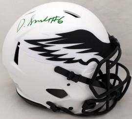DeVonta Smith Autographed Philadelphia Eagles Lunar Eclipse White Full Size Authentic Speed Helmet (Smudged) Beckett BAS QR #WL18864