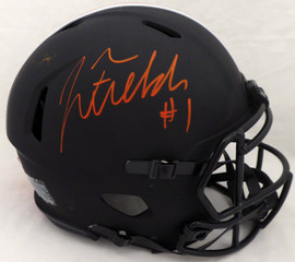 Justin Fields Autographed Ohio State Buckeyes Eclipse Black Authentic Speed Full Size Helmet Beckett BAS #WG94136