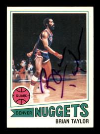 Brian Taylor Autographed 1977-78 Topps Card #14 Denver Nuggets SKU #195509