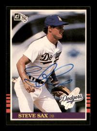 Steve Sax Autographed 1985 Donruss Card #418 Los Angeles Dodgers SKU #195538