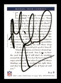 Michael Irvin Autographed 1992 Pro Line Profiles Card #4 Dallas Cowboys Certified Stamp SKU #195616