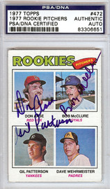 Gil Patterson, Don Aase & Bob McClure Autographed 1977 Topps Card #472 PSA/DNA #83306651