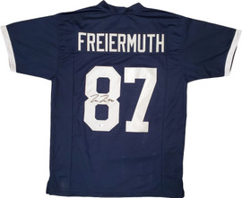 Penn State Nittany Lions Pat Freiermuth Autographed Blue Jersey Beckett BAS Stock #195774