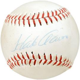 Hank Aaron Autographed Official Wilson Little League Baseball Atlanta Braves Beckett BAS #AA46860