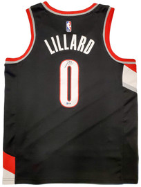 Portland Trail Blazers Damian Lillard Autographed Black Nike Jersey Size L Beckett BAS Stock #195898