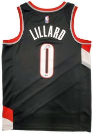Portland Trail Blazers Damian Lillard Autographed Black Nike Jersey Size M Beckett BAS Stock #195899
