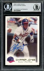 Chipper Jones Autographed 2000 Fleer Focus Card #118 Atlanta Braves Beckett BAS #13020802
