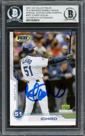 Ichiro Suzuki Autographed 2001 Upper Deck Play Makers Rookie Card #SE1 Seattle Mariners Beckett BAS #13020816