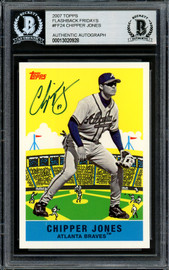 Chipper Jones Autographed 2007 Topps Fan Favorite Card #FF24 Atlanta Braves Beckett BAS Stock #195974