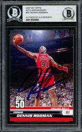 Dennis Rodman Autographed 2007-08 Topps 50th Anniversary Card #29 Chicago Bulls Beckett BAS Stock #195976