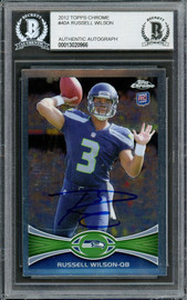Russell Wilson Autographed 2012 Topps Chrome Rookie Card #40 Seattle Seahawks Beckett BAS #13020966