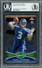 Russell Wilson Autographed 2012 Topps Chrome Rookie Card #40 Seattle Seahawks Beckett BAS #13020970