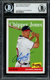 Chipper Jones Autographed 2019 Topps Heritage Card #88 Atlanta Braves Beckett BAS #13020979