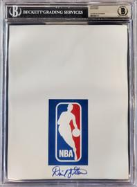 David Stern Autographed 8.5x11 Photo Sheet NBA Commissioner Beckett BAS Stock #196051
